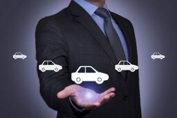 agent holding car cutout