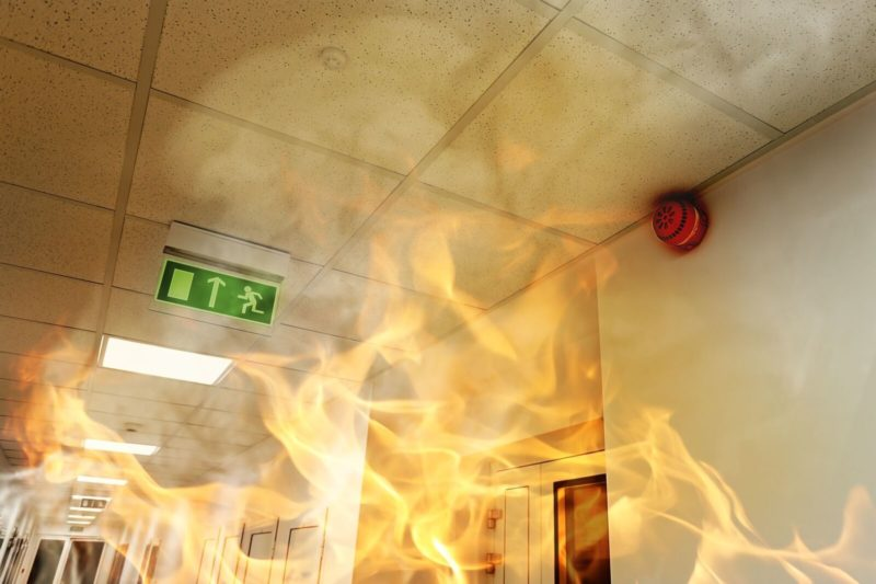 fire in a business hallway