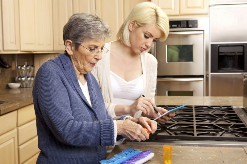 elderly person receiving home healthcare assistance